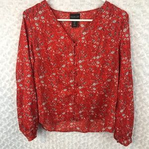 Rachel Zoe Red Floral Button Front Top NWOT
